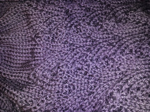 Detailed view of the lacy part of my second attempt at lace knitting.