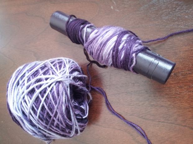 Here is an example. I started a pair of socks & then decided to frog them. The yarn I frogged is on the tube you see next to the ball.
