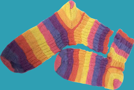 The completed socks - check out how nicely the striping worked out!