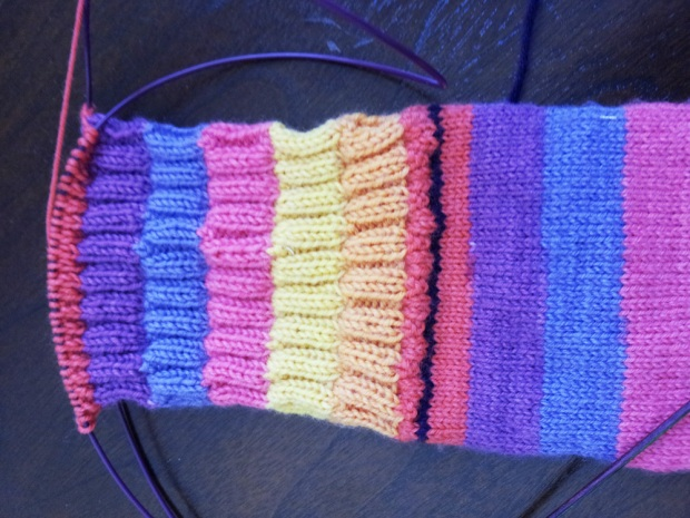 Shows a sock with waste yarn in purple (right below the ribbing)