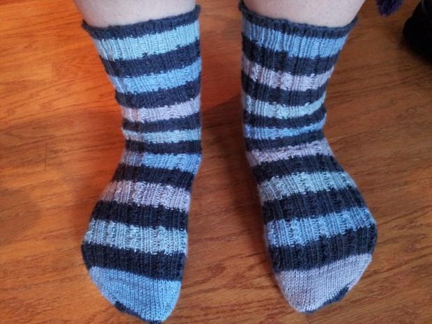Toe-up socks with self-striping yarn