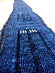 TARDIS scarf made with fingering (sock) weight yarn.